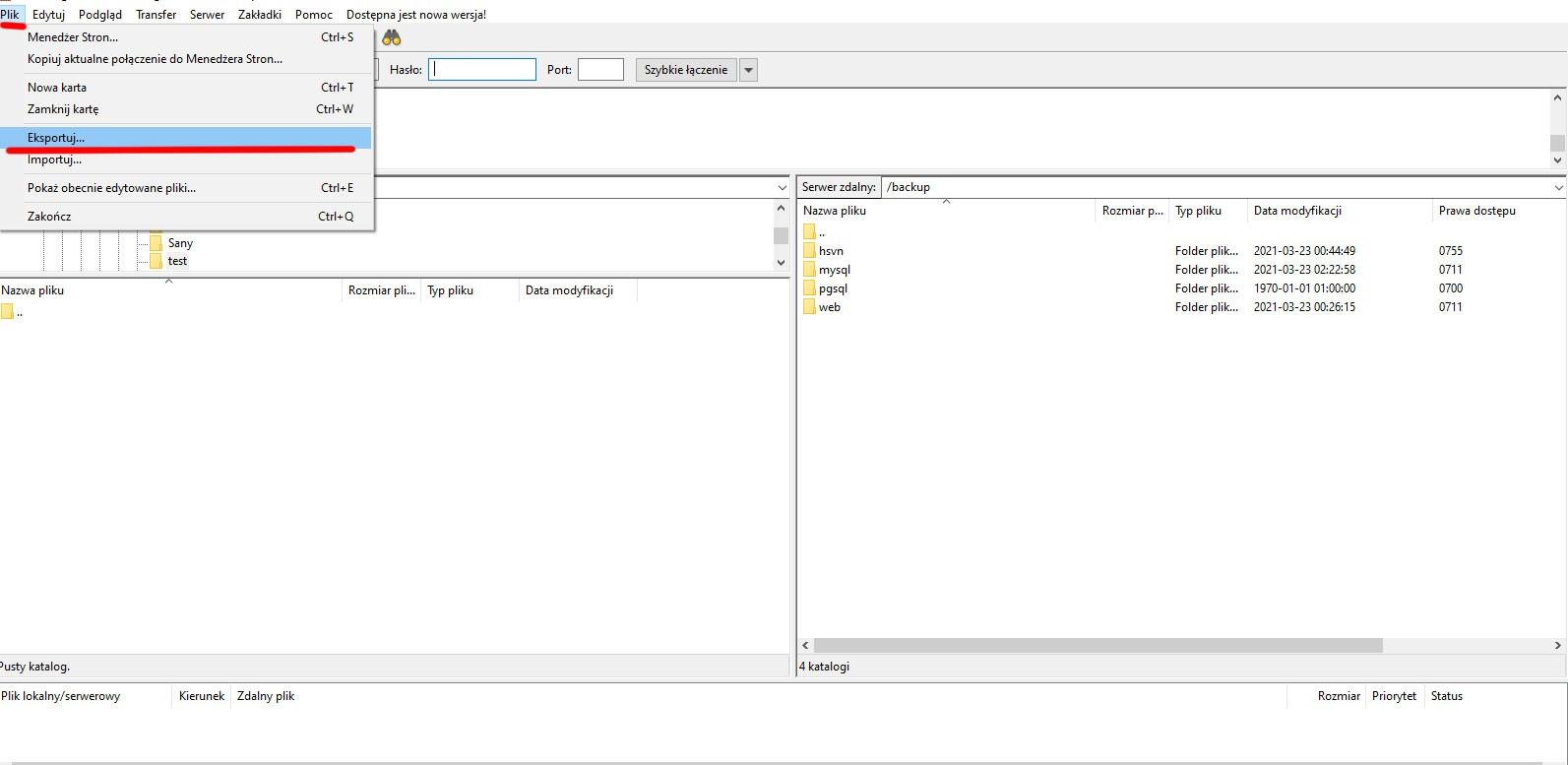 Jak sprawdzić hasło FTP w Filezilli