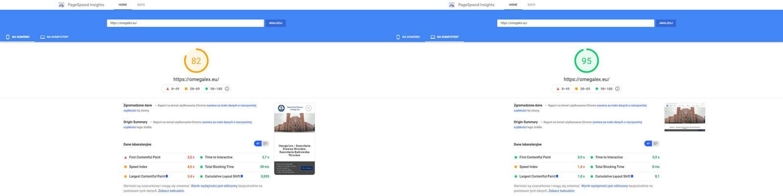 Wyniki Google PageSpeed Insights